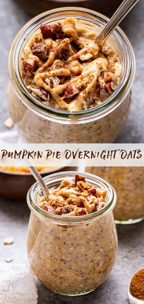 Pumpkin Pie Overnight Oats collage. Overhead photo of oats in a jar with a spoon in them on top and front shot of the oats in a jar on the bottom.