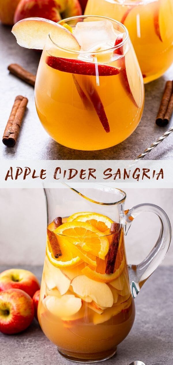 Apple Cider Sangria collage with a glass filled with sangria on the top and the pitcher of sangria on the bottom.