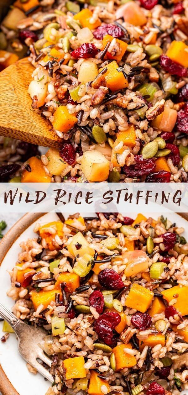 Wild rice stuffing collage with a photo of a wooden spoon scooping up some of the stuffing on top and a serving of the stuffing on a white plate on the bottom.