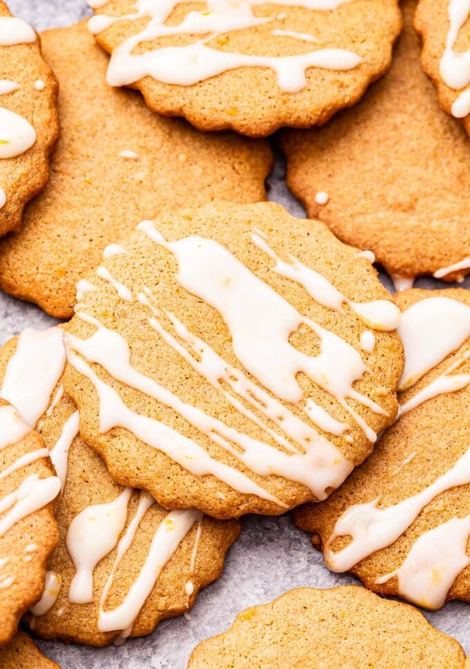 Closeup photo of Chai Ginger Cookie drizzled with white glaze.