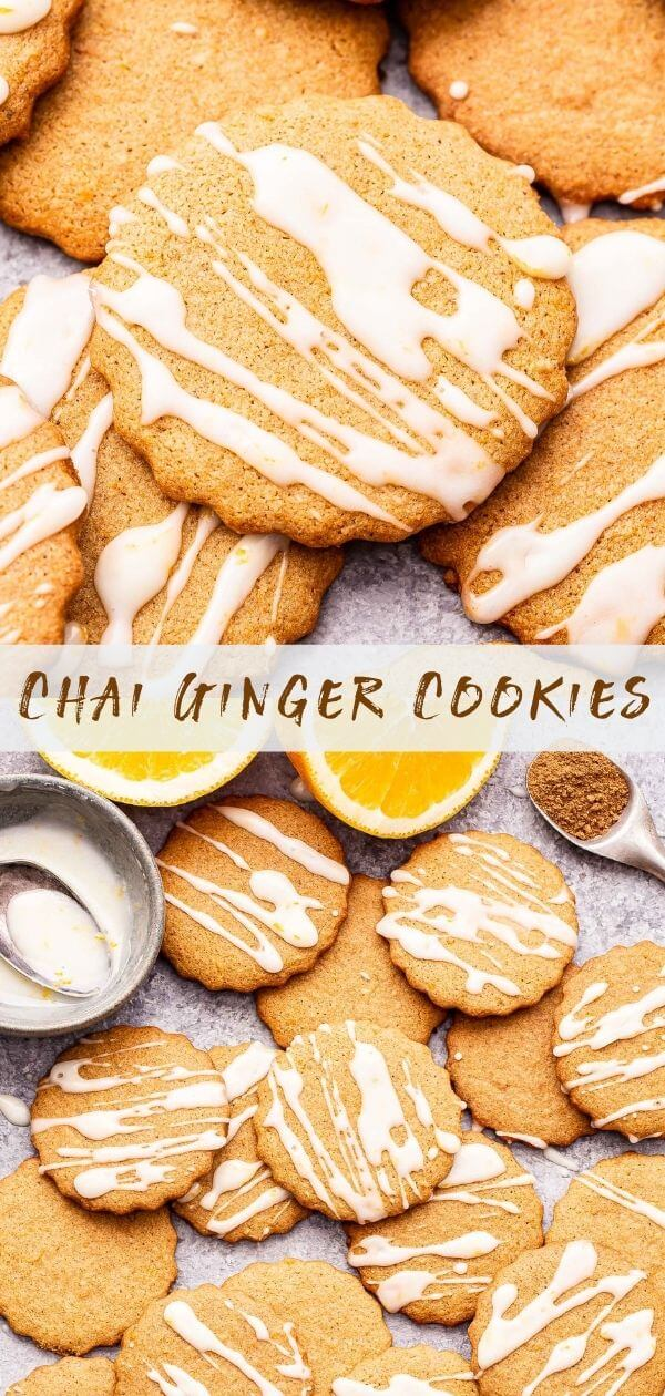 Chai ginger cookies Pinterest collage.
