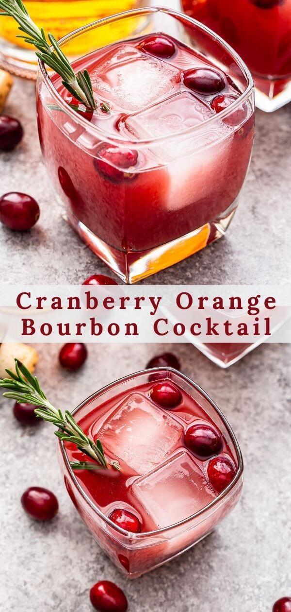 Cranberry Orange Bourbon Cocktail Pinterest collage