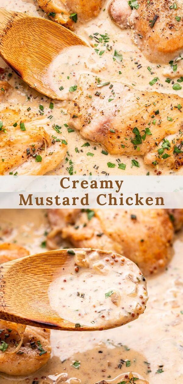 Creamy Mustard Chicken Pinterest collage.