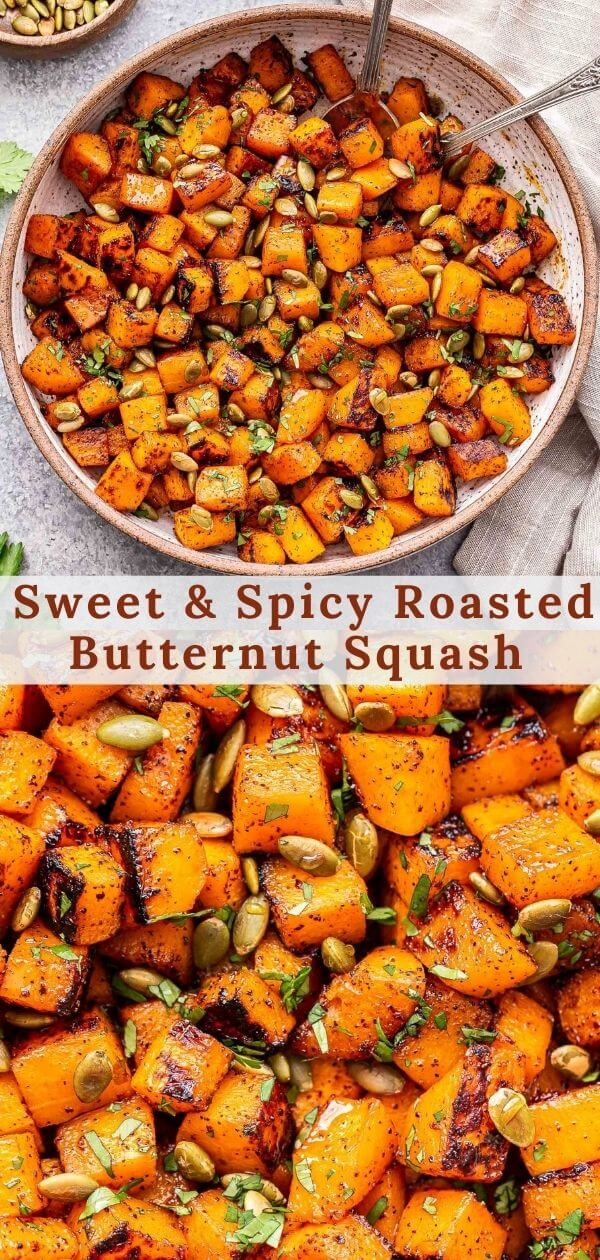 Sweet and Spicy Roasted Butternut Squash Pinterest collage.
