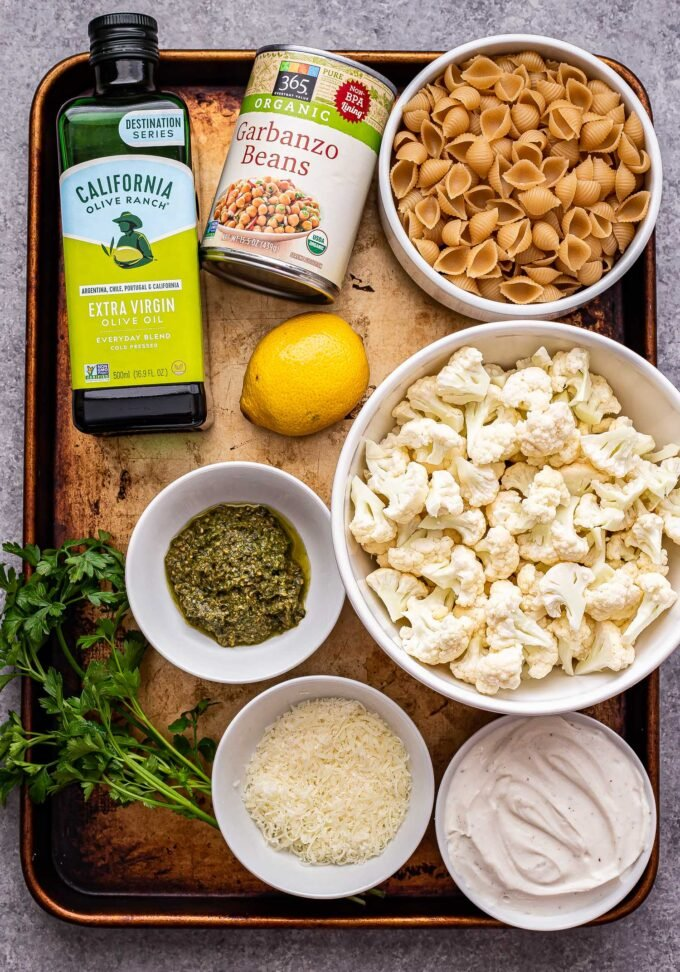 Ingredients used to make Roasted Cauliflower and Chickpea Pesto Pasta.