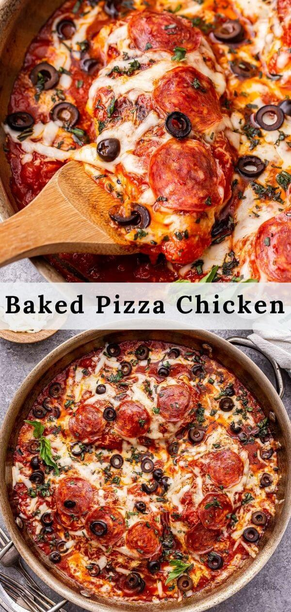 Baked Pizza Chicken Pinterest collage.