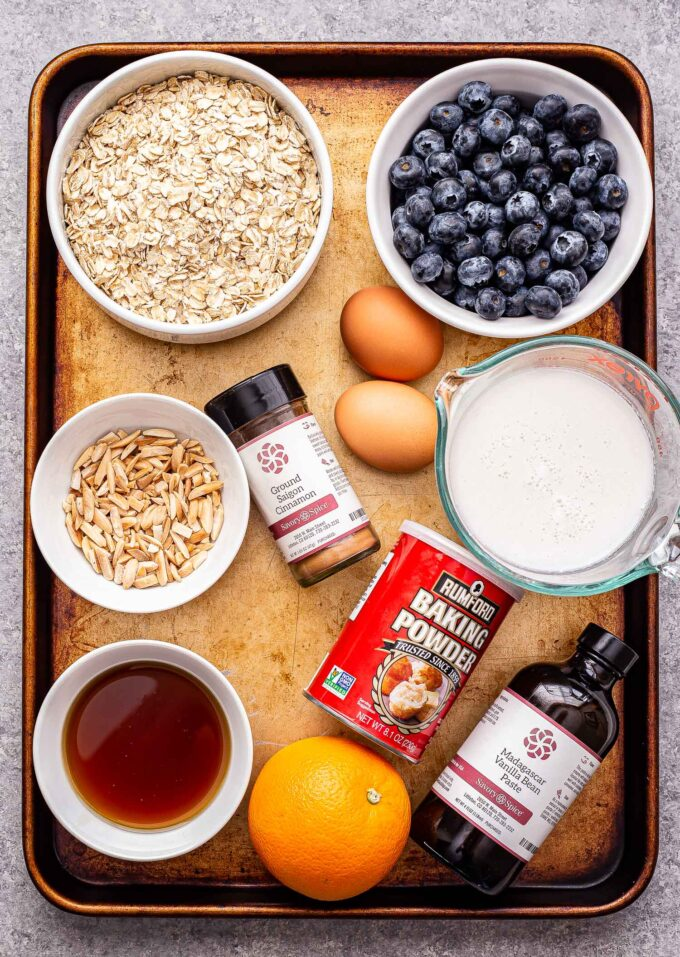 Ingredients used to make Blueberry Maple Baked Oatmeal.