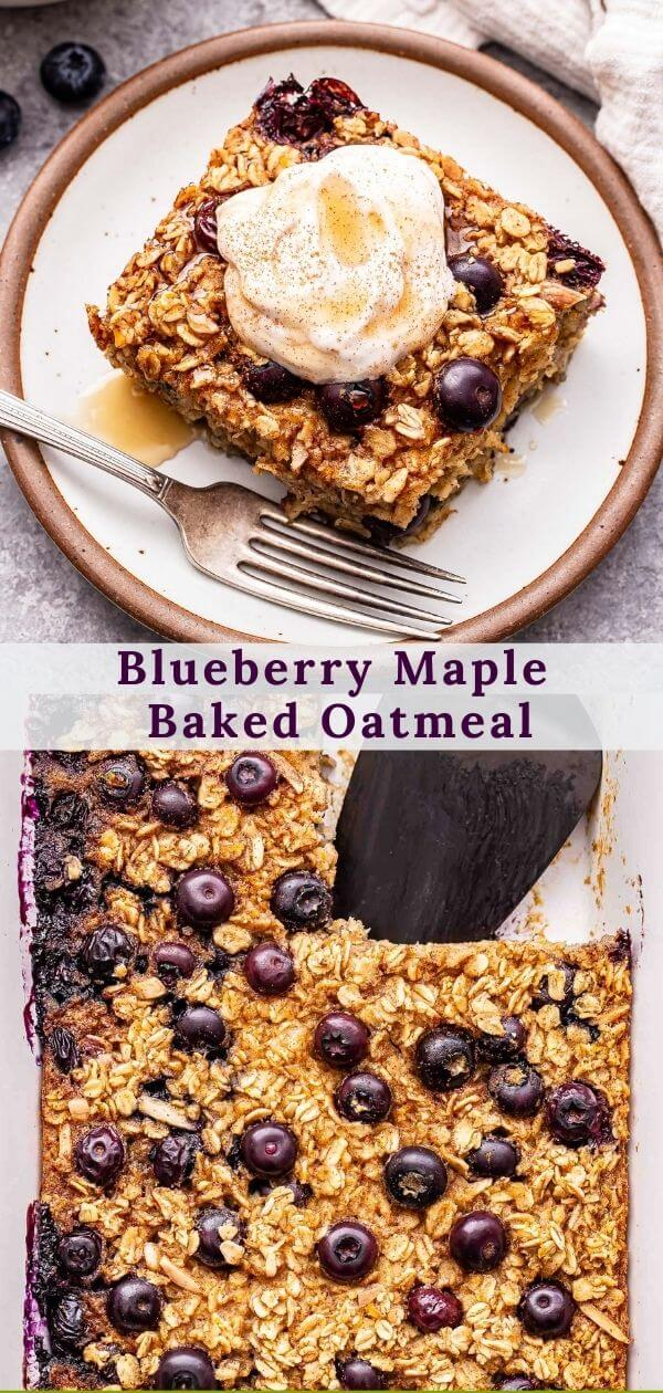 Blueberry Maple Baked Oatmeal pinterest collage