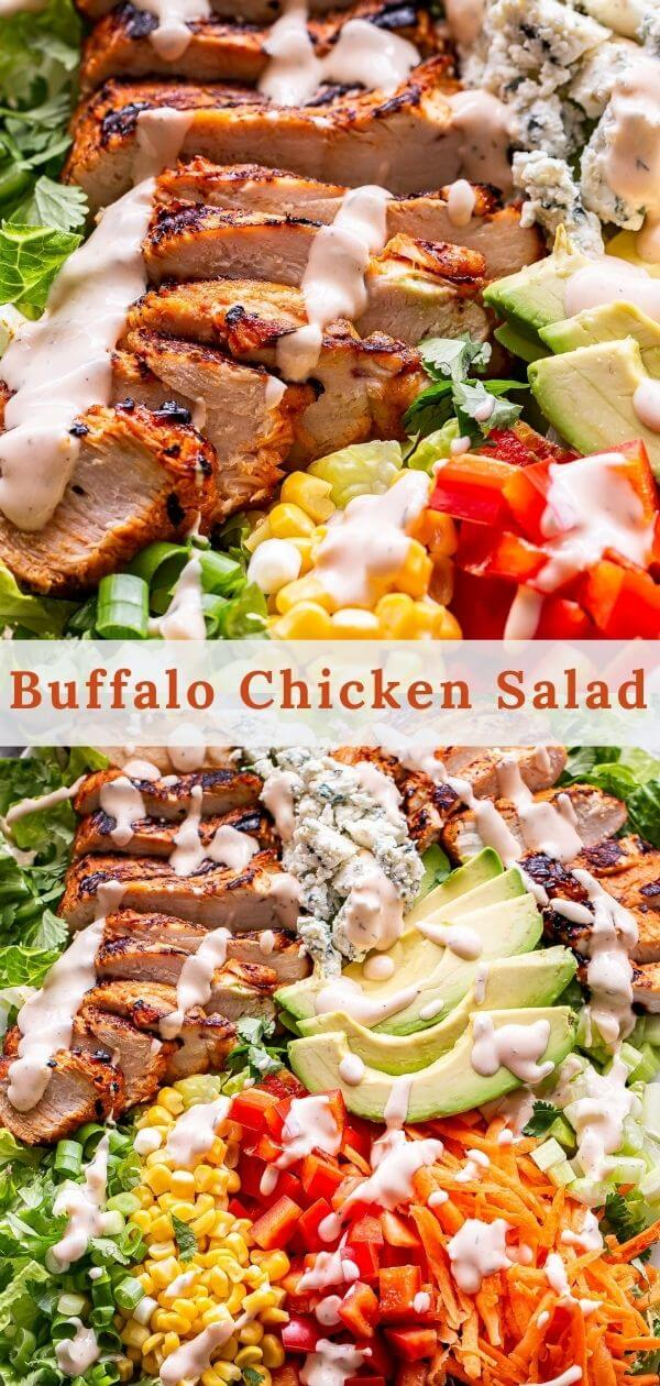 buffalo chicken salad with spicy ranch dressing pinterest collage