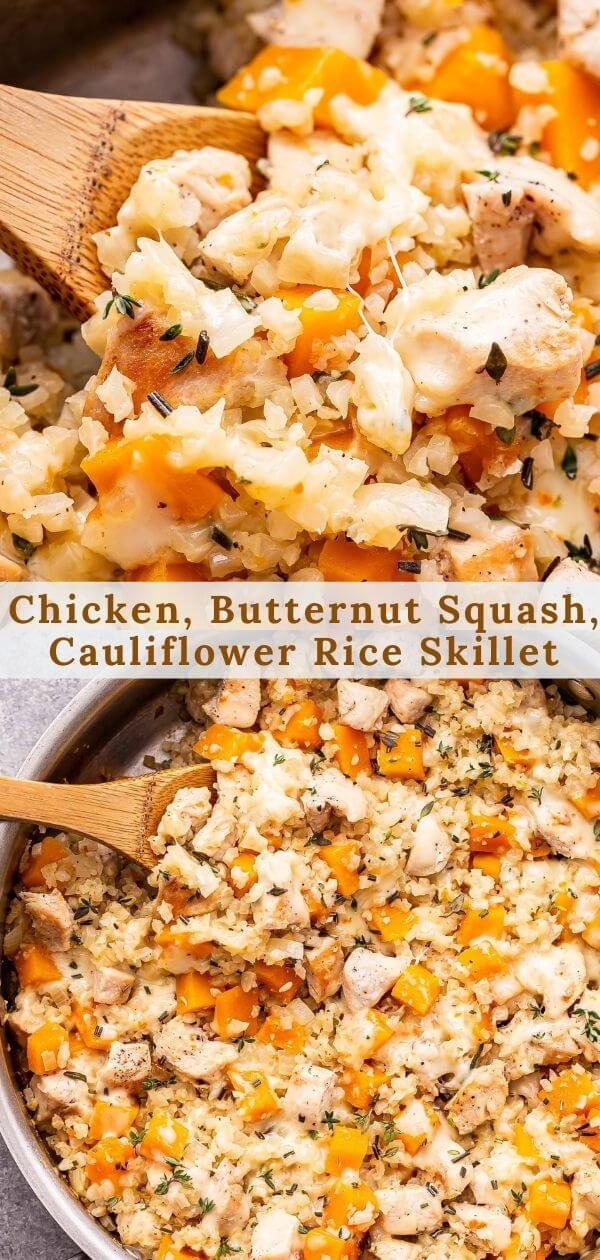 Cheesy Chicken, Butternut Squash and Cauliflower Rice Skillet Pinterest collage.