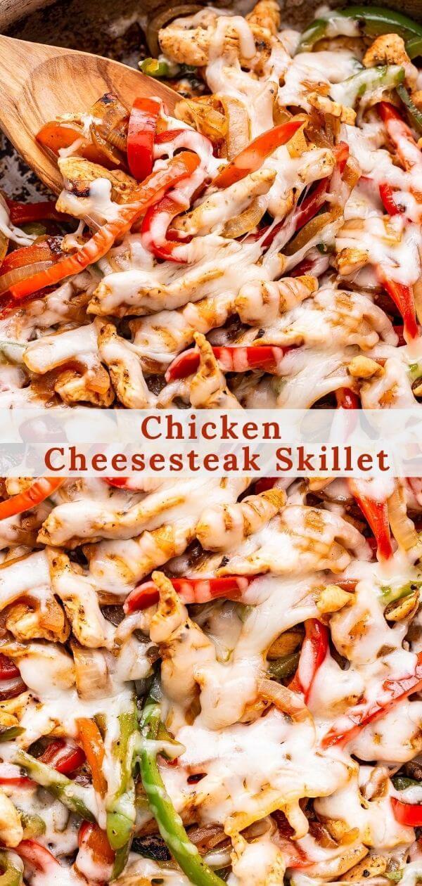 Chicken Cheesesteak Skillet pinterest collage