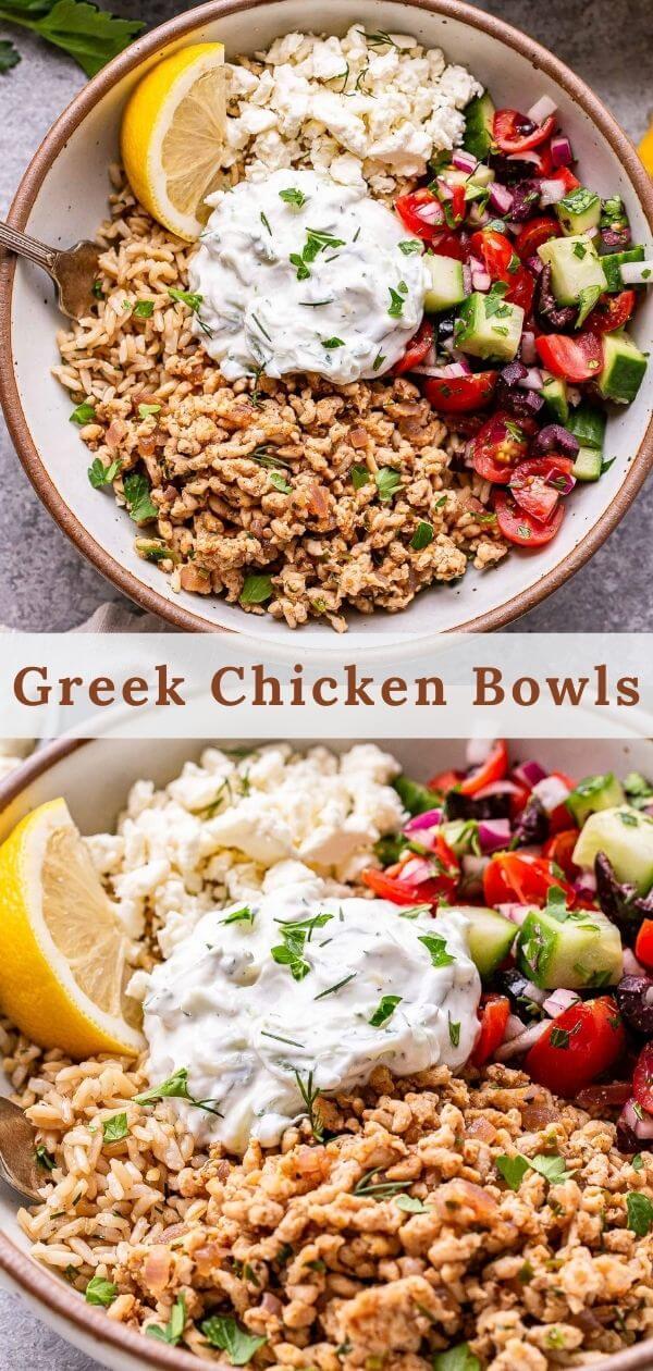 Greek Chicken Bowls Pinterest collage