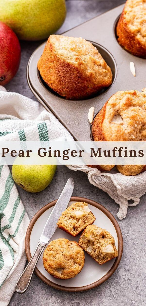 Pear Ginger Muffins Pinterest collage