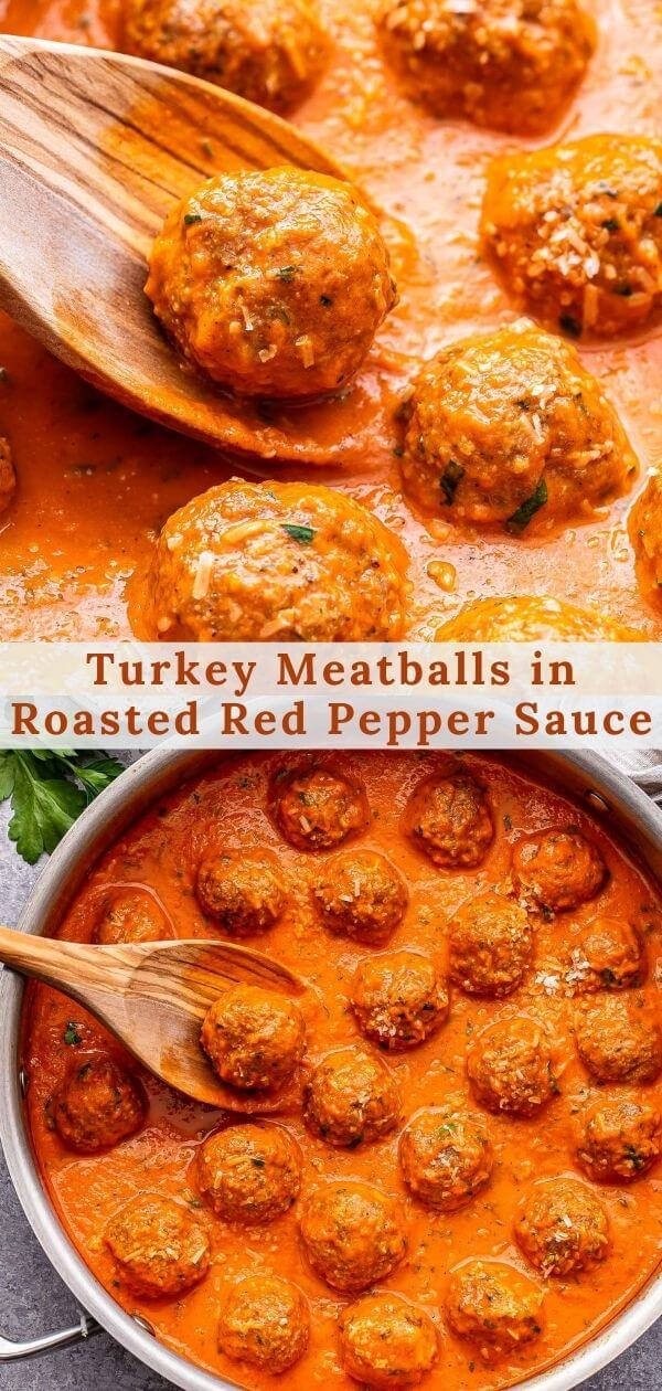 Turkey Meatballs in Roasted Red Pepper Sauce pinterest collage