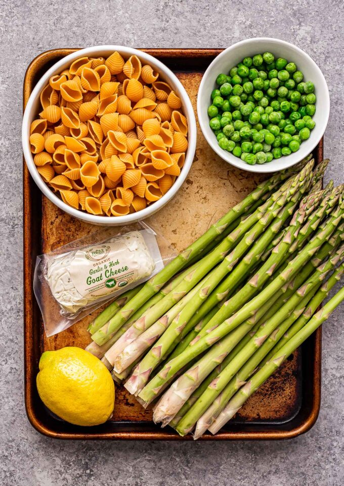 ingredients used to make asparagus goat cheese pasta.