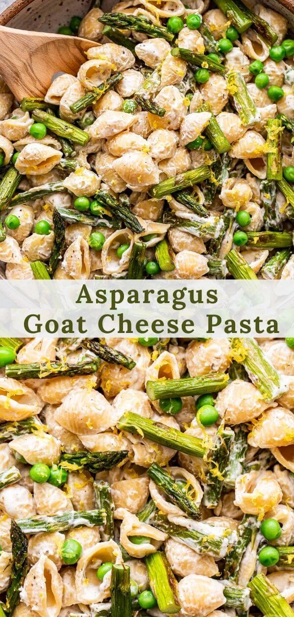 Asparagus goat cheese pasta pinterest collage