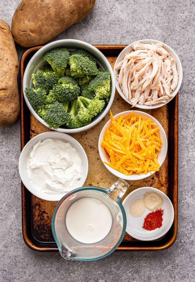 Ingredients used to make Broccoli cheddar chicken twice baked potatoes.