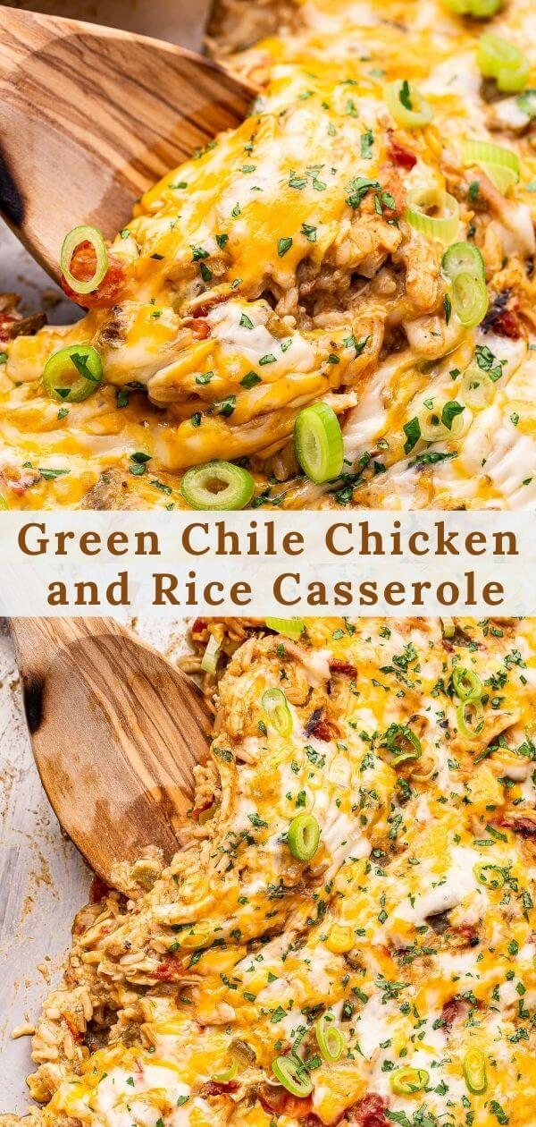Green Chile Chicken and Rice Casserole pinterest collage.