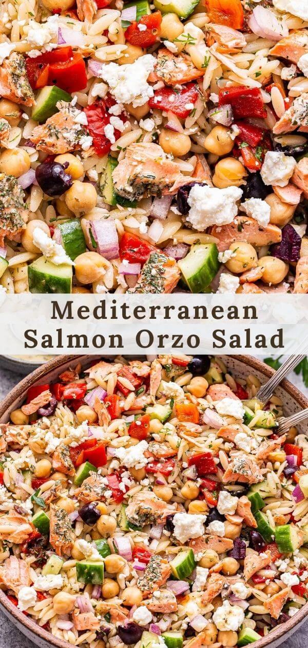 Mediterranean Salmon Orzo Salad pinterest collage.