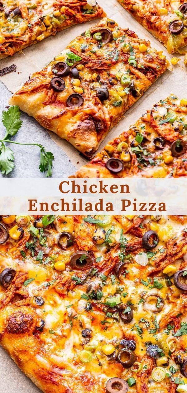 Chicken enchilada pizza pinterest collage