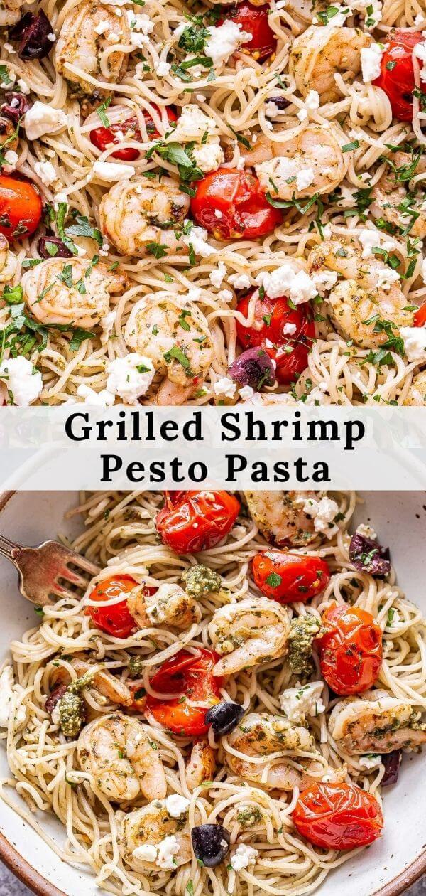 Grilled Shrimp Pesto Pasta pinterest collage.