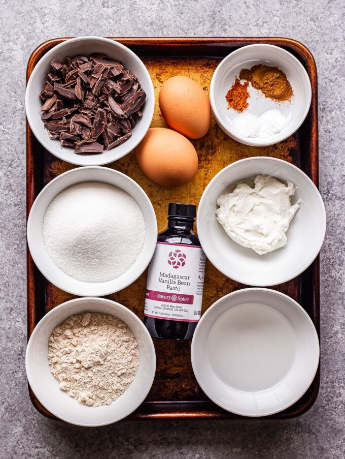 Ingredients used to make Mexican Skillet Brownies on a sheet pan.
