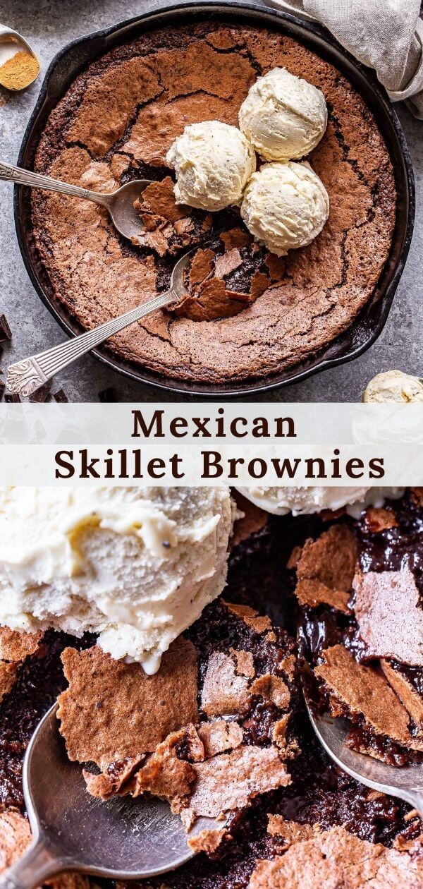 Mexican Skillet Brownies pinterest collage