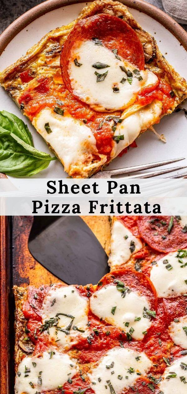 pinterest collage of sheet pan pizza frittata