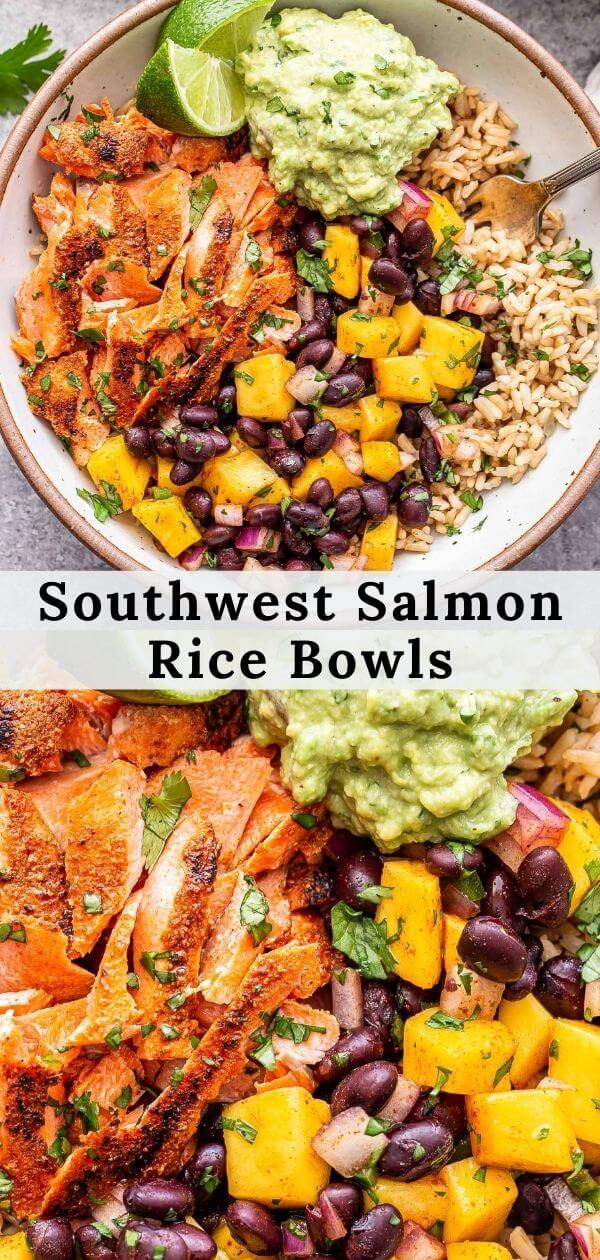 Southwest Salmon Rice Bowls Pinterest collage.