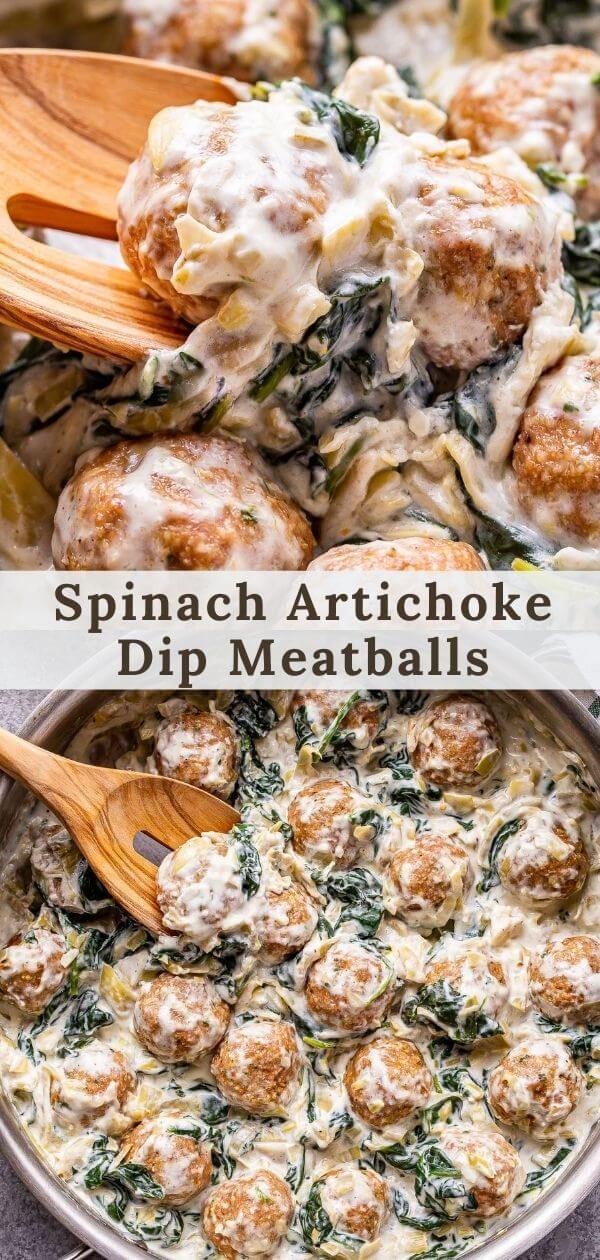Spinach Artichoke Dip Meatballs Pinterest collage.