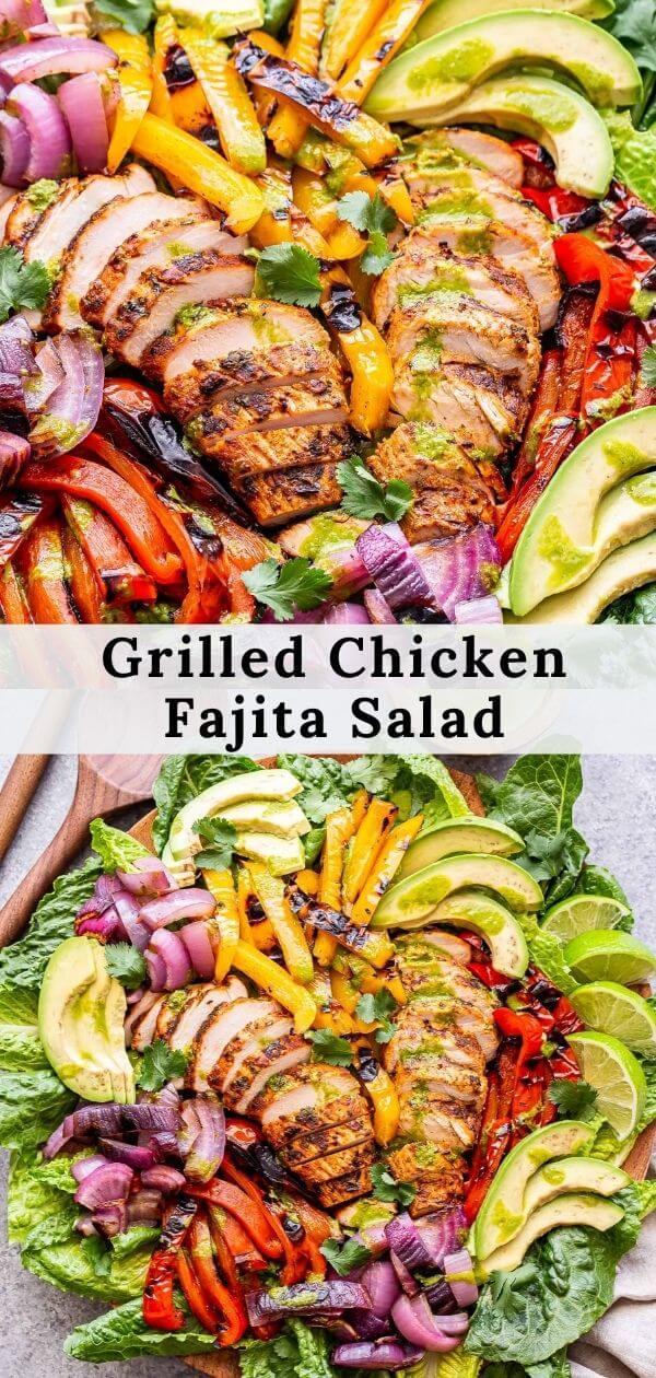 Grilled Chicken Fajita Salad pinterest collage.