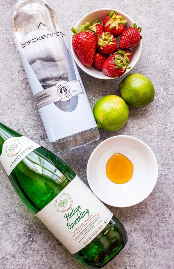 Ingredients used to make Strawberry Lime Vodka Smash