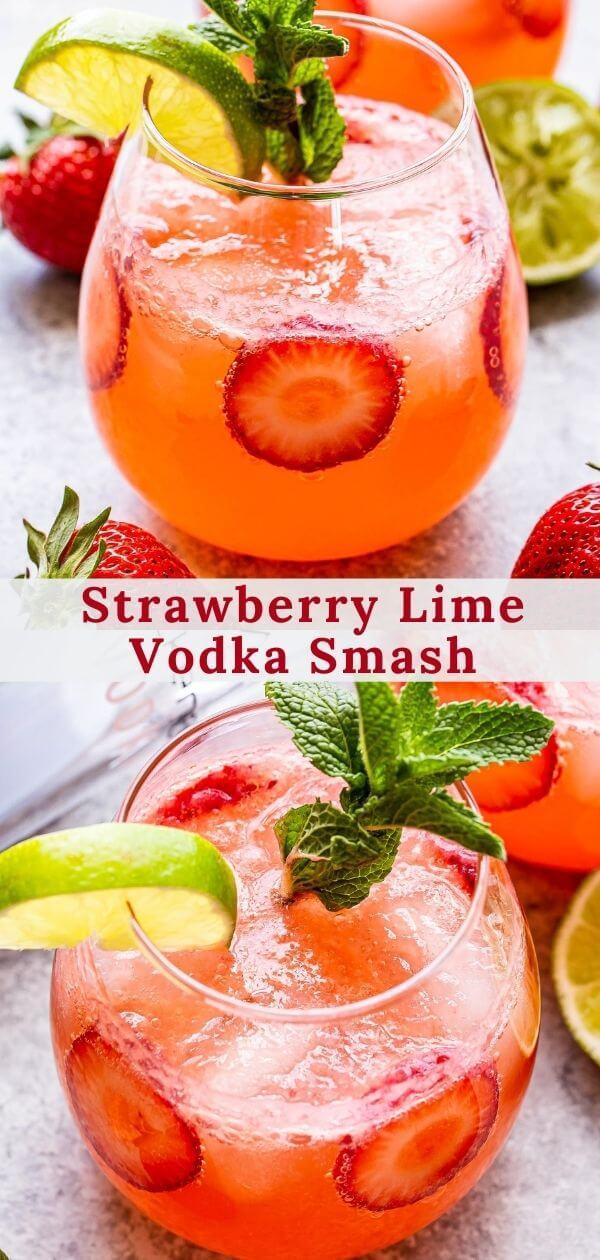 Strawberry Lime Vodka Smash Pinterest collage.