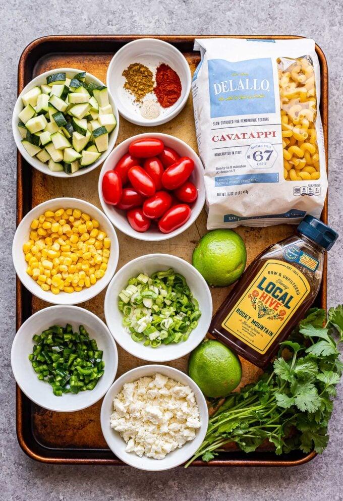 ingredients used to make tomato corn pasta salad
