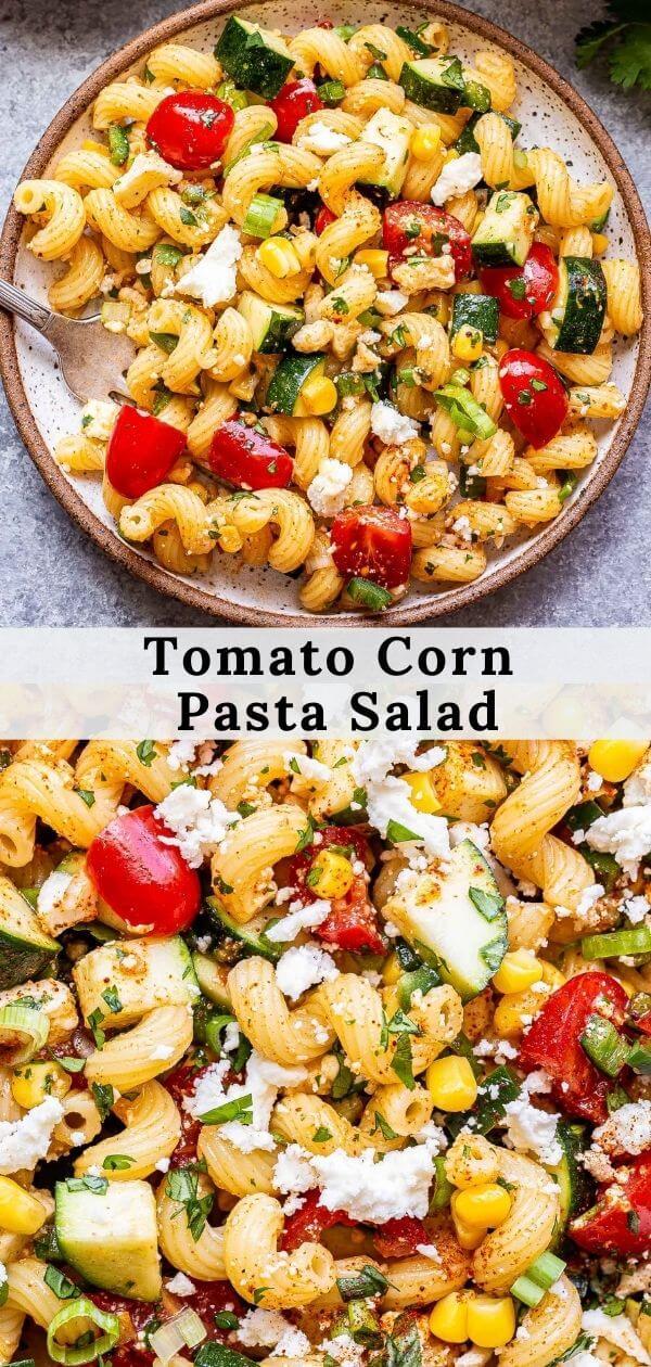 Tomato Corn Pasta Salad pinterest collage