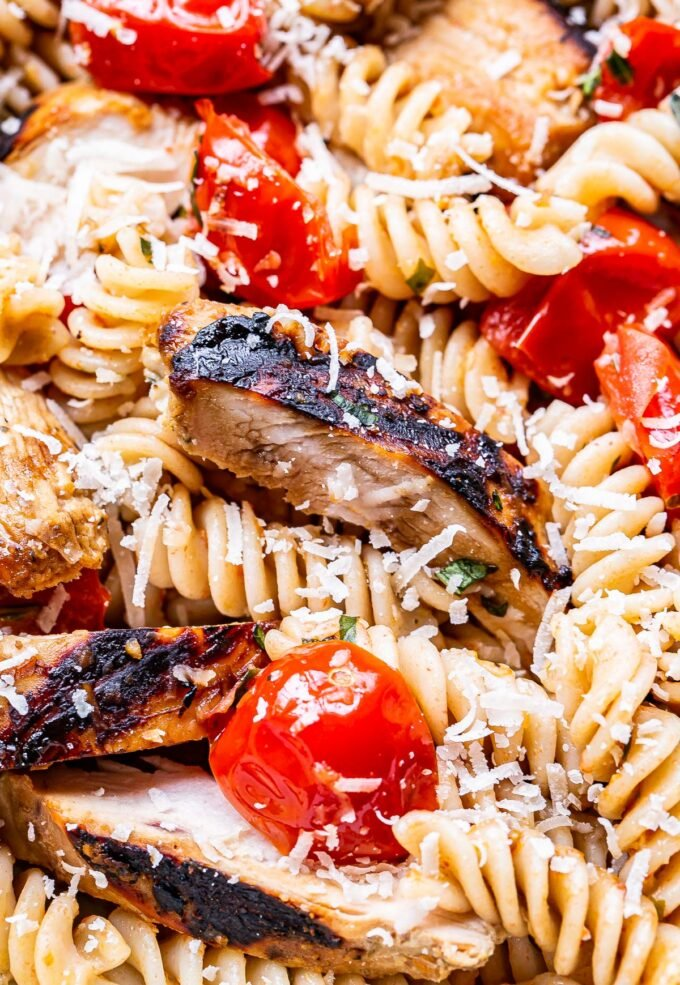 closeup photo of Tomato Basil Pasta with Balsamic Grilled Chicken
