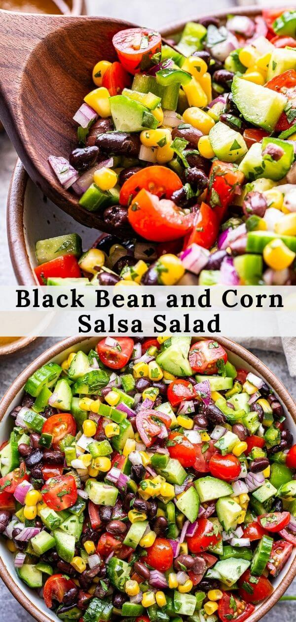 black bean and corn salsa salad pinterest collage