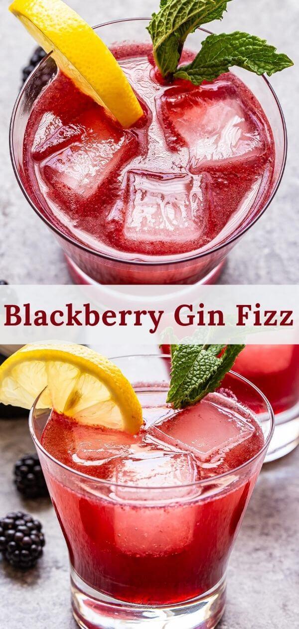 blackberry gin fizz cocktail pinterest collage.