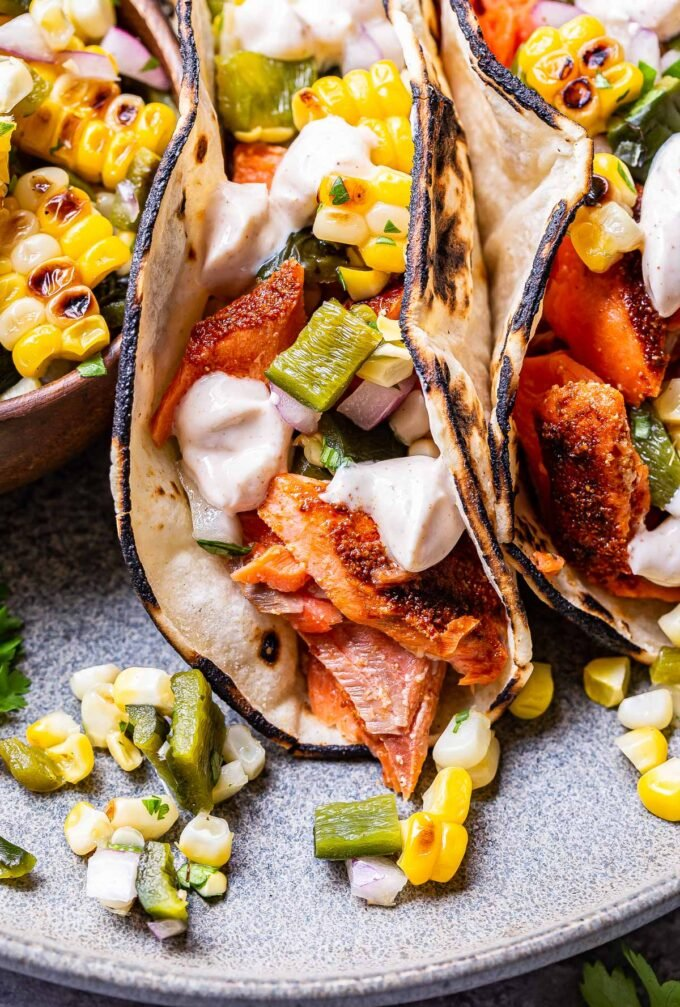 Front view of a Grilled Salmon Tacos with Corn Salsa
