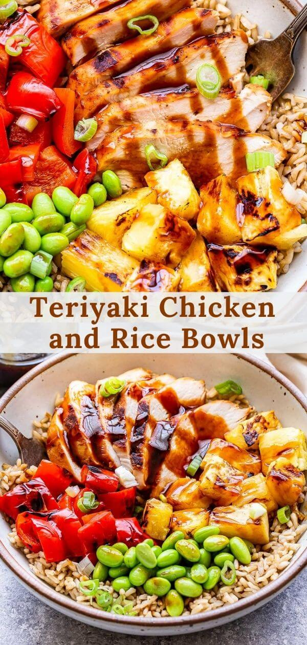 Teriyaki Chicken and Rice Bowls pinterest collage.