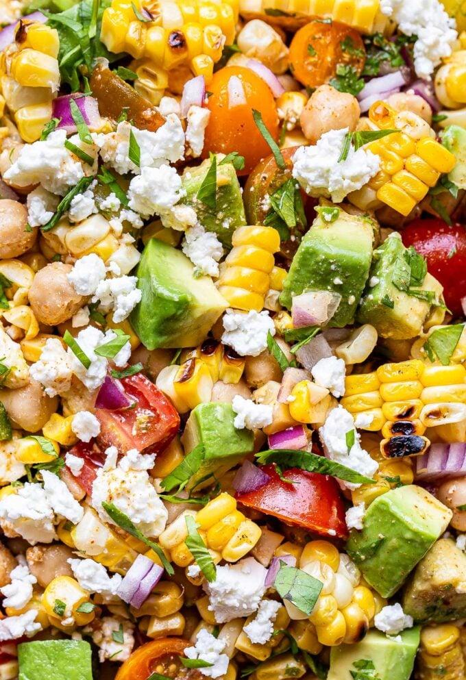 closeup photo of Tomato Avocado Corn Salad.