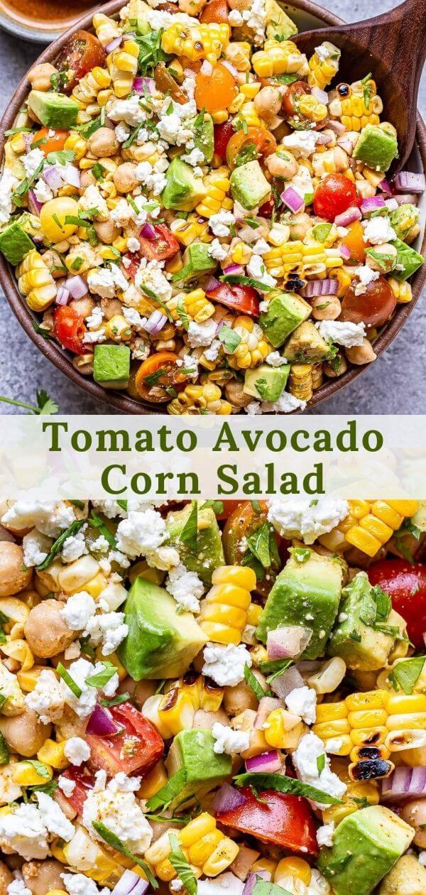 Tomato Avocado Corn Salad Pinterest collage