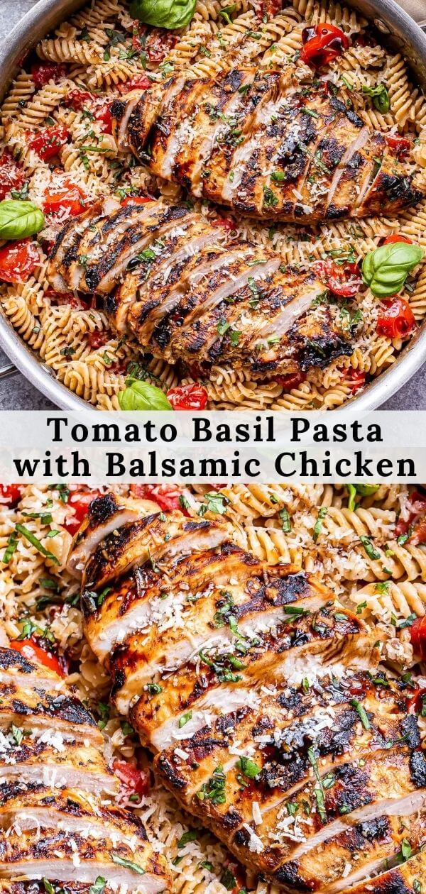 Tomato Basil Pasta with Balsamic Grilled Chicken Pinterest collage