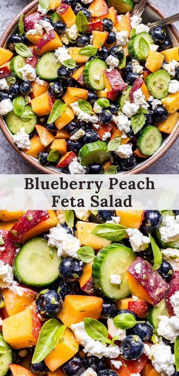 Blueberry Peach Feta Salad Pinterest collage
