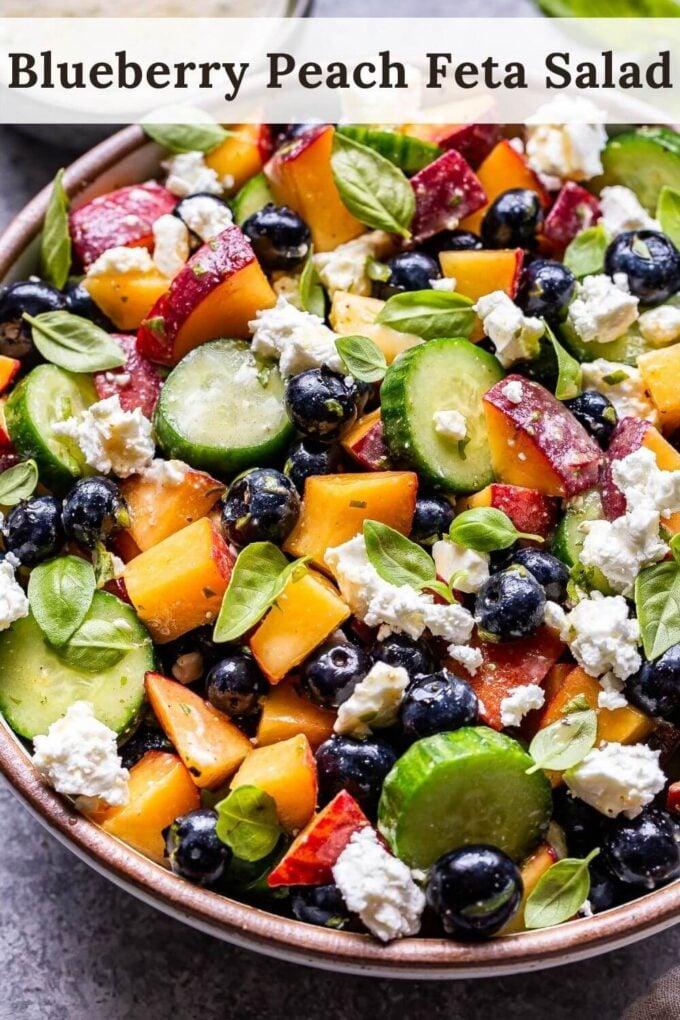 Blueberry Peach Feta Salad Pinterest image
