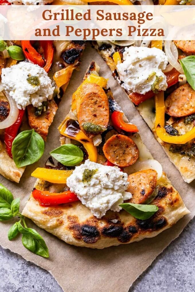 Grilled Sausage and Peppers Pizza pinterest collage