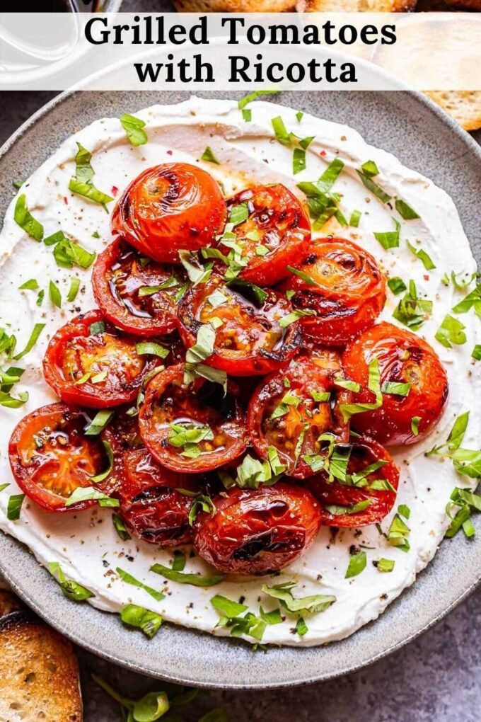 Grilled Tomatoes with Ricotta pinterest collage