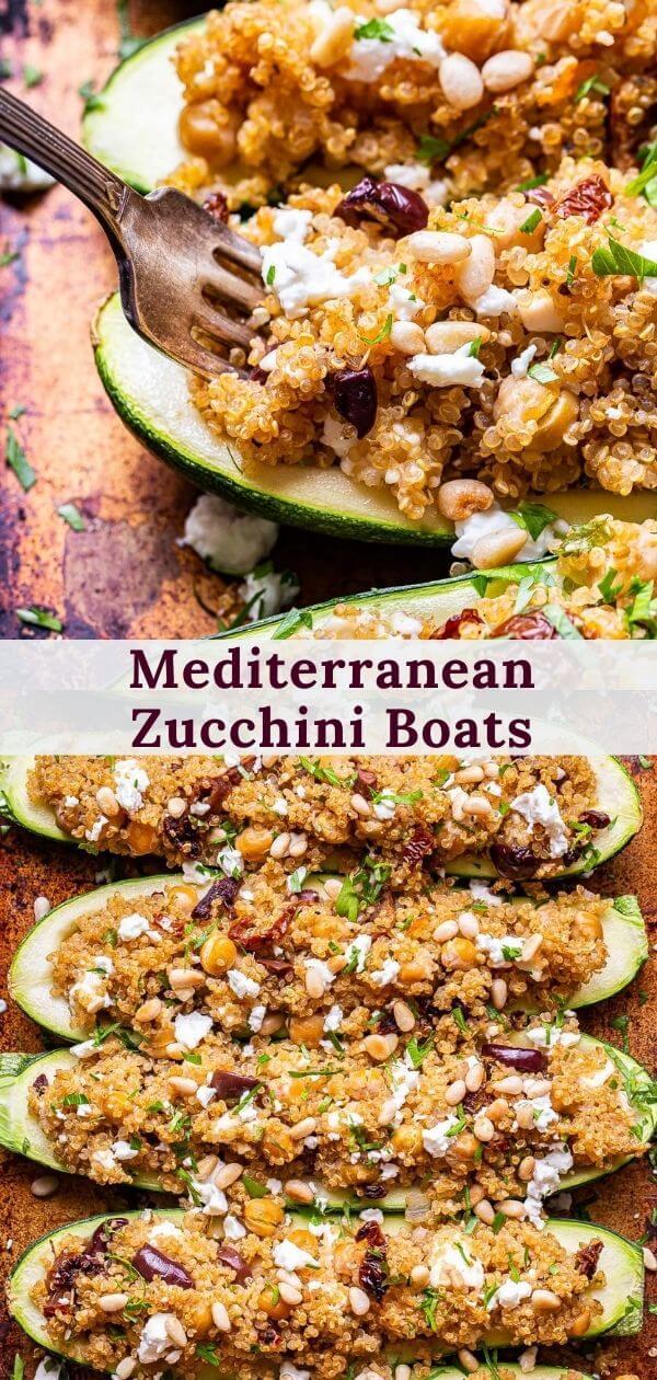 Mediterranean Zucchini Boats pinterest collage