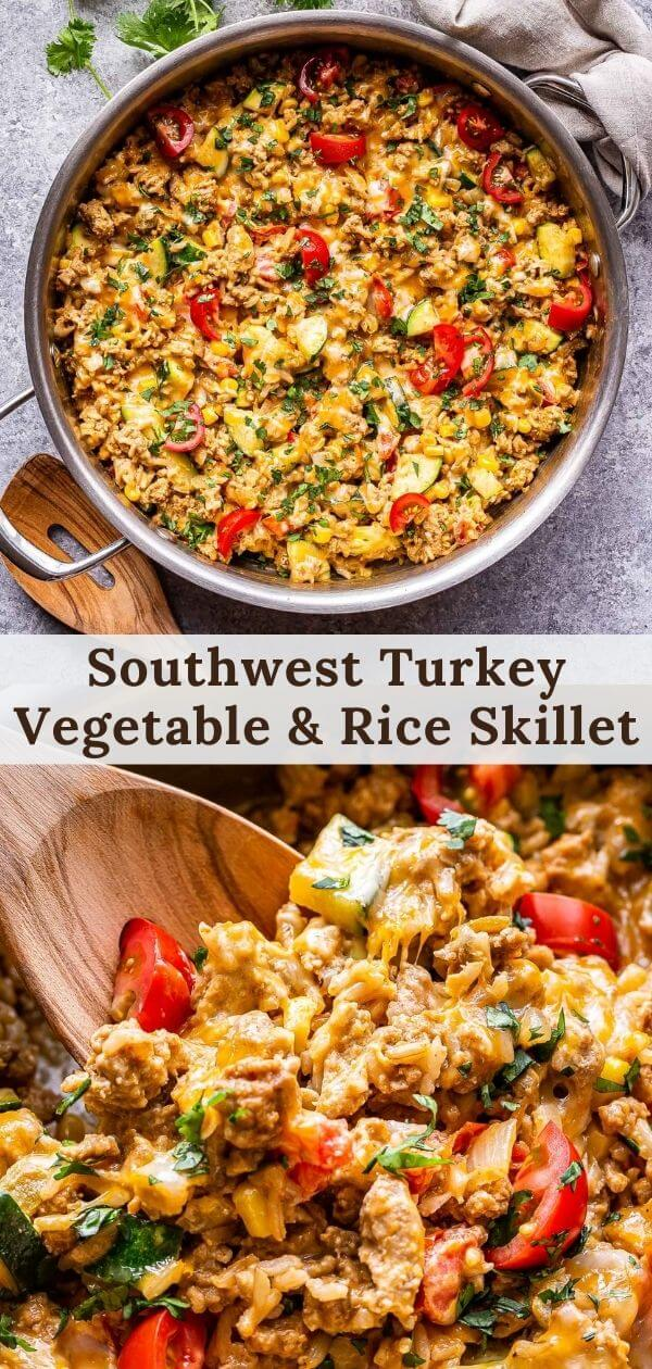 Southwest Turkey Vegetable and Rice Skillet Pinterest collage