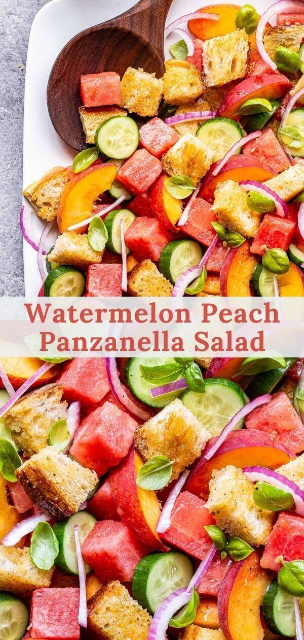 Watermelon Peach Panzanella Salad pinterest collage